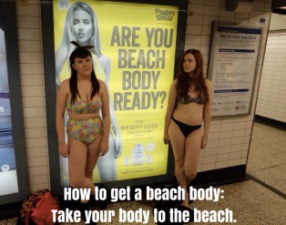 bloggers shed clothes in protest of advert in London Underground